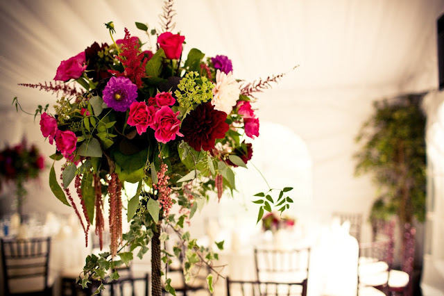 tall centerpieces hot pink, burgandy and purple