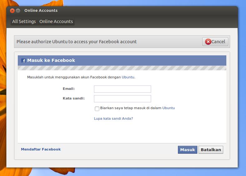 Integrasi Facebook ke Ubuntu