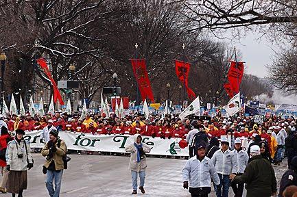 Milhares desfilam pela vida sob a neve em Washington EUA
