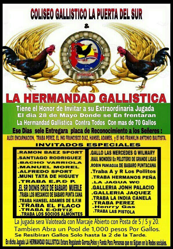 Gran Jugada el 28 de Mayo en el Coliseo Gallistico La Puerta del Sur de San Cristobal