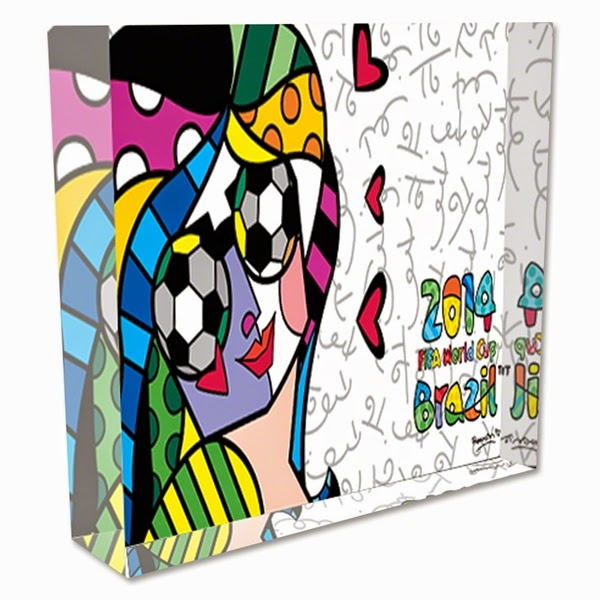 2014 FIFA World Cup Brazil Britto I Love Soccer Acrylic Block