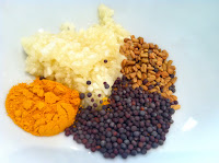 spices, turmeric, fenugreek, mustard seeds, brown mustard seeds, minced garlic, garlic