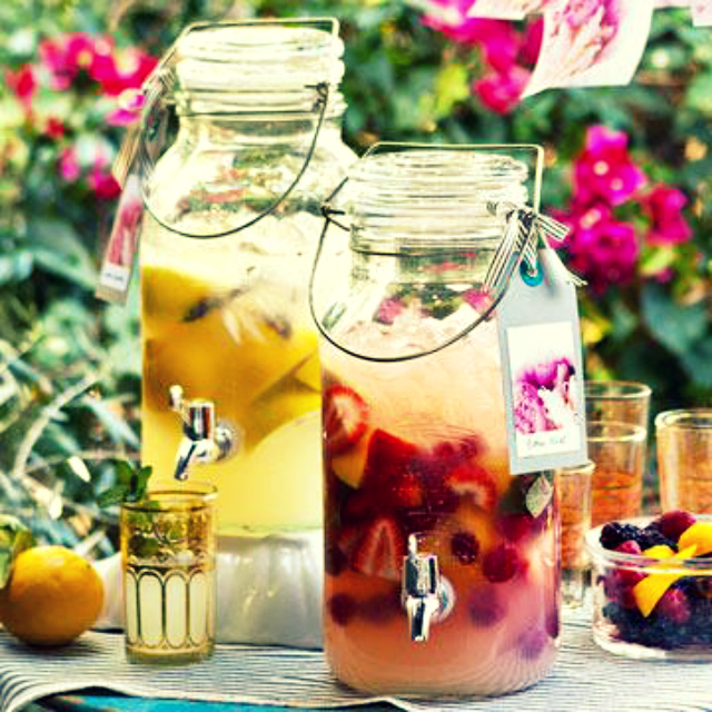 fresh fruit juice in glass jars