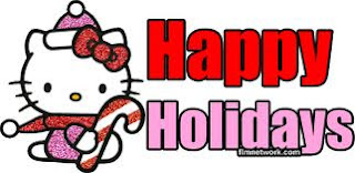 Santa kitten pet with candy cane wishing happy holidays clip art photo