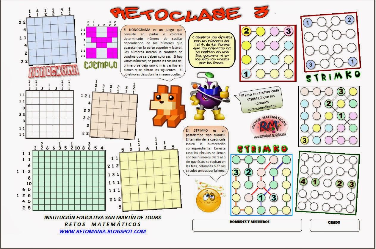 Retos matemáticos, Desafíos matemáticos, Problemas matemáticos, Problemas de lógica, Problemas de ingenio, Nonogramas, Strimko, Sudoku, Variantes del Sudoku