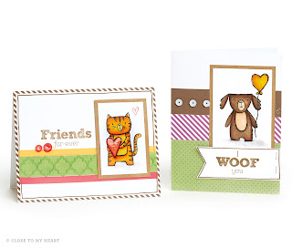 CTMH Clear Stamp Cat and Dog Card