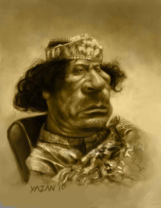 Muammar Gaddafi karikatur portræt, af Yazan Khalifeh