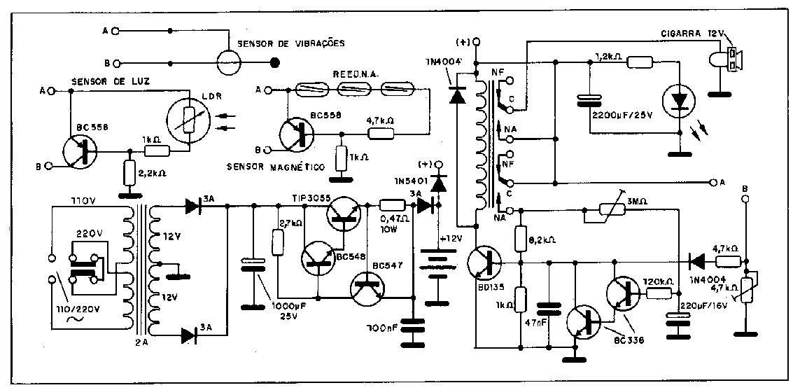 Circuito Eletronico : Eletrônico circuito alarme residencial