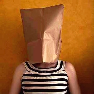 faceless ugly insecure paper bag cover face