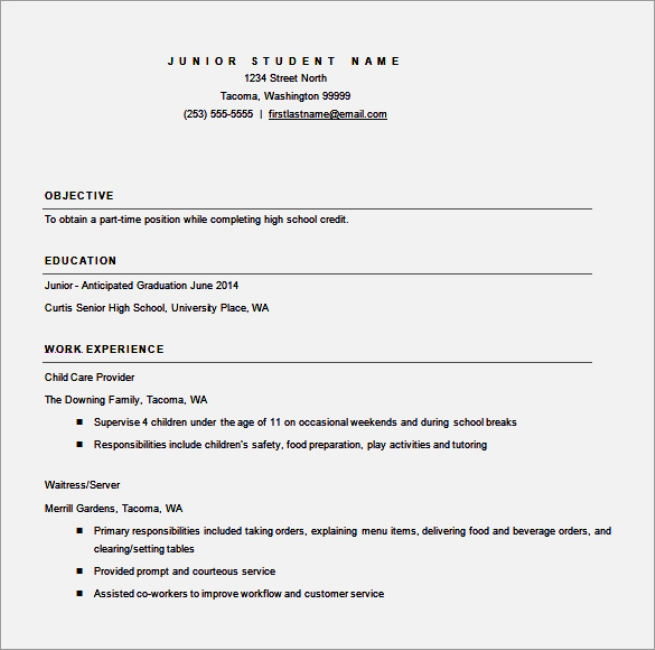 resume template word high school