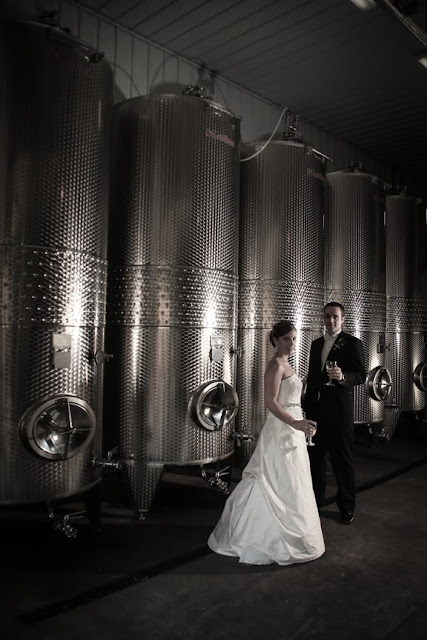 Bride and Groom In Wine Cellar Veramar Vineyard