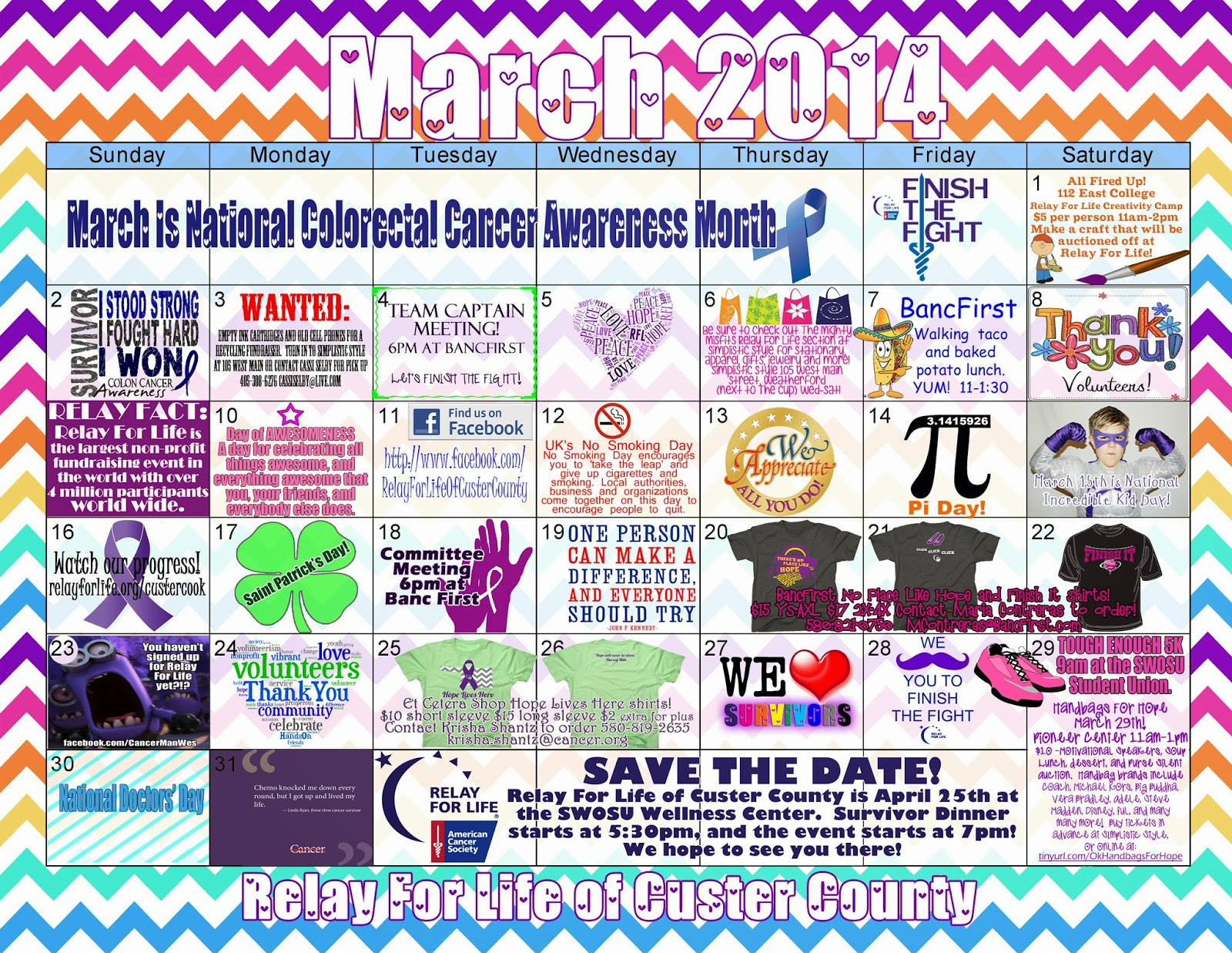 Calendar Ideas For March : Cassi selby relay for life fundraising and event calendar