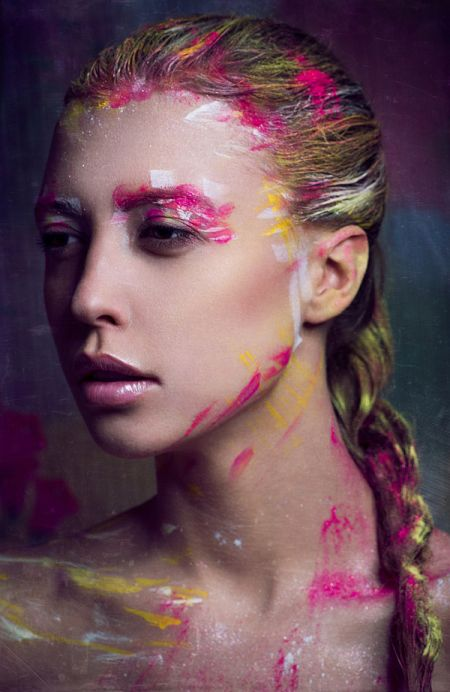Anna Kirikova fashion photography women models painted faces color makeup