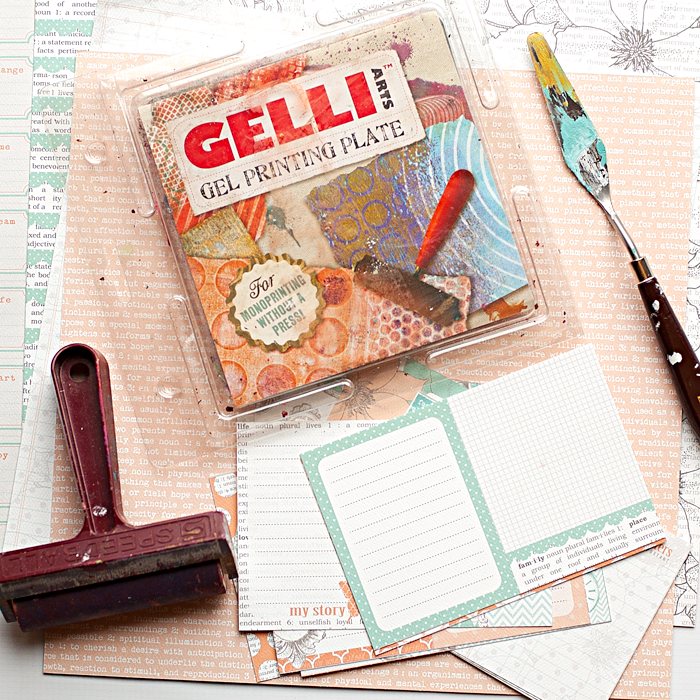 4 step tutorial for creating a fun and simple background using a Gelli Arts Gel Printing Plate and journal cards