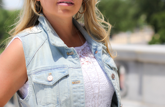 white lace dress and denim vest