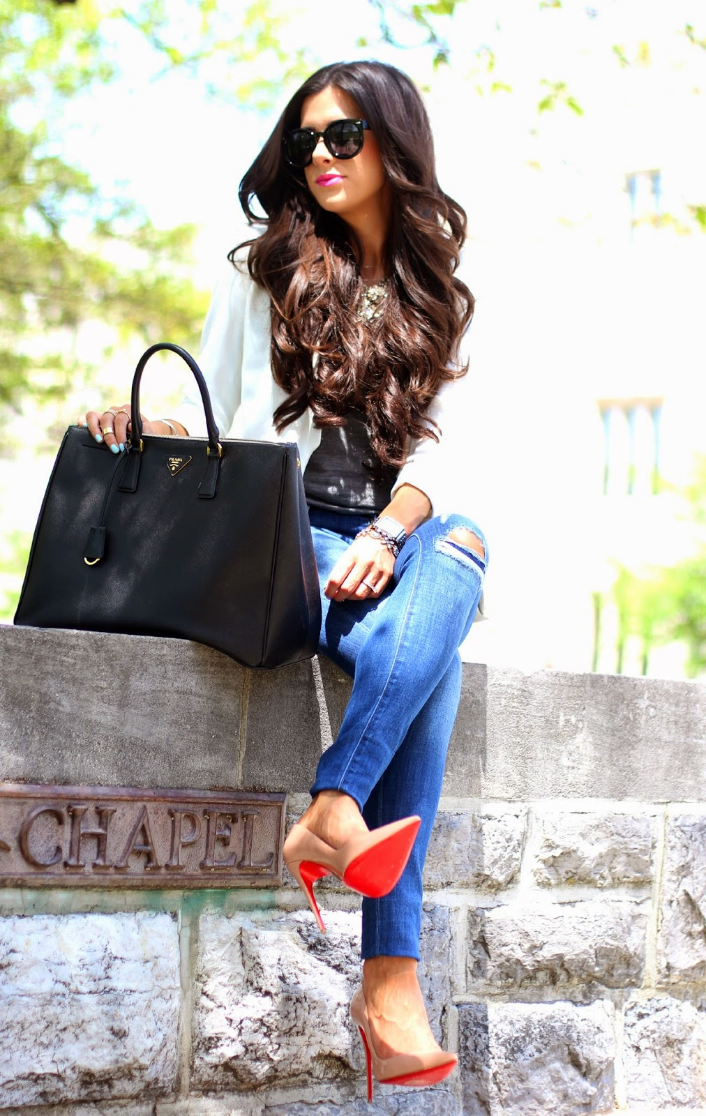 www.TheSweetestThingBlog.com, The Sweetest Thing, Emily Gemma, Emily Ann Gemma on Instagram, Emily Ann Gemma Pinterest, Wifey Tee Shirt, ILY couture Wifey Tee Shirt, How to style a gray tee, dittos skinny jeans, skinny jeans at nordstrom, christian louboutin heels, christian louboutin so kate 120mm, prada executive tote, prada bag in black large double zip, crystal flower necklace jcrew, white blazer, white blazer from nordstrom, white blazer from h&m, white boyfriend blazer, women's long white blazer, how to style a white blazer, how to wear nude pumps with jeans, nude pumps, pinterest summer fashion 2014, pinterest outfits for summer 2014, spring fashion 2014, style blogger, fashion blog with wifey tee, karen walker sunglasses, bellami hair extensions, mocha chino bellami hair extensions