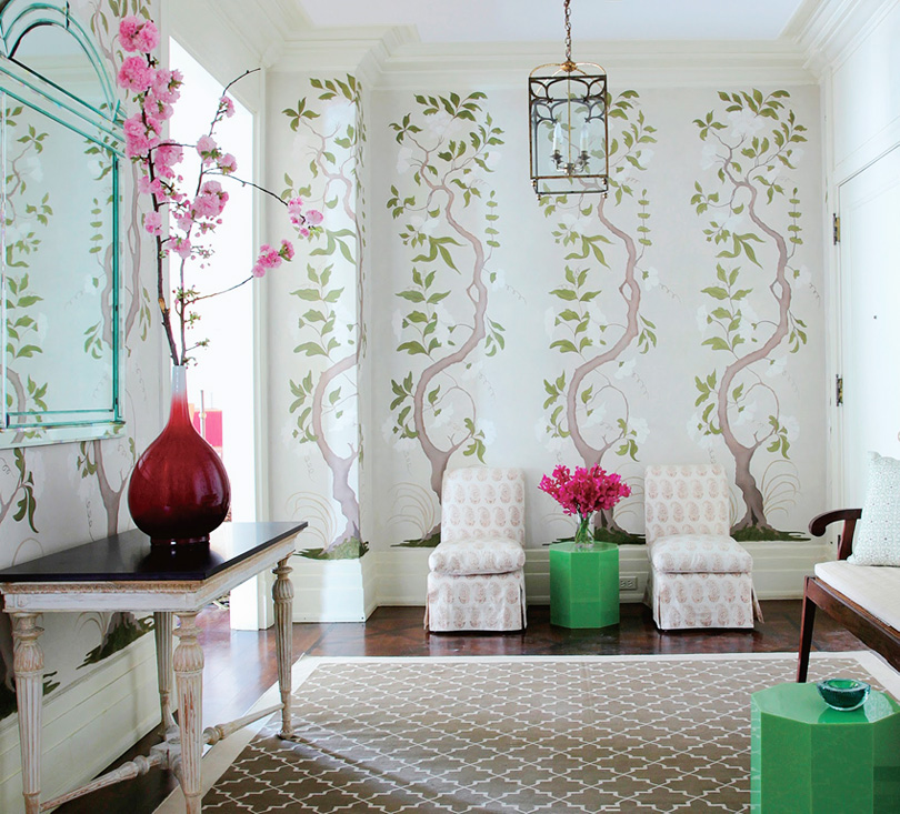 Chinoiserie chic the chinoiserie entryway for Chinoiserie mural wallpaper