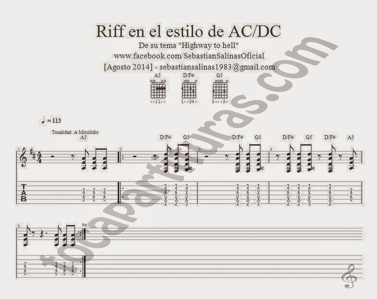 Tablatura con Acordes para Guitarra del Riff estilo AC/DC Highway to hell Sheet Music Tablature for easy guitar with chords Lead sheet