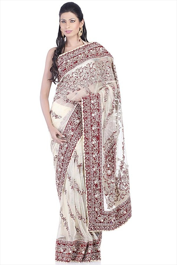 new Beige Net Saree