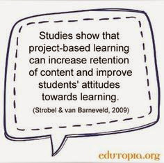 A quote that says, Students show that project based learning can increase retention of content and improve students attitudes towards learning