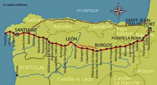 Path of life: The Camino de Santiago or the Way of St. James Camino De Santiago Frances Route Map on