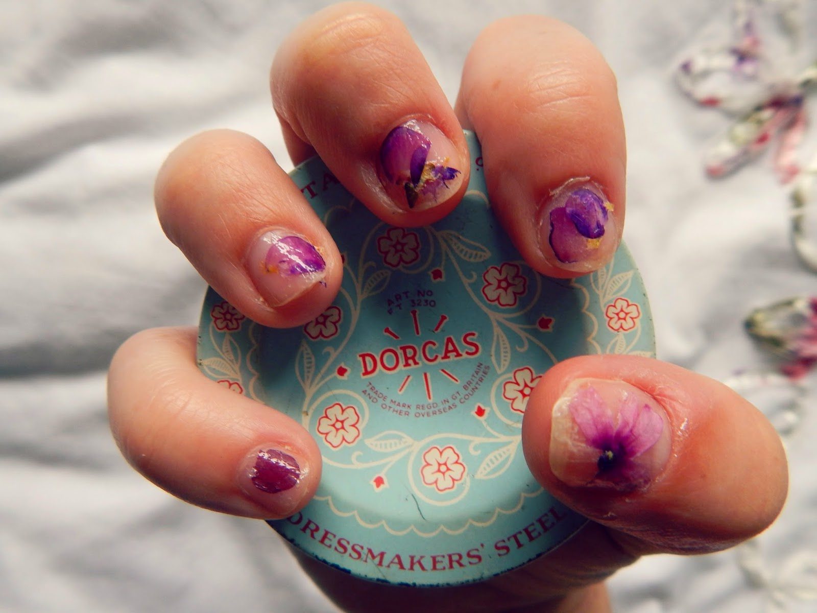 Pressed Flower Nail Art Manicure