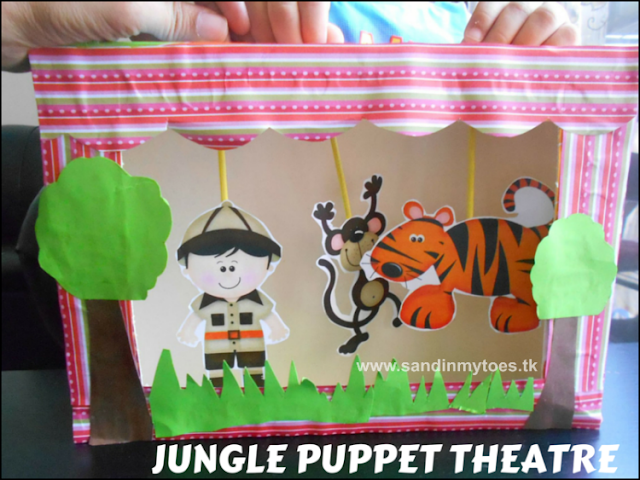 Fun craft for making a jungle-themed puppet theatre from a cereal box, with a link to download these cute puppets!
