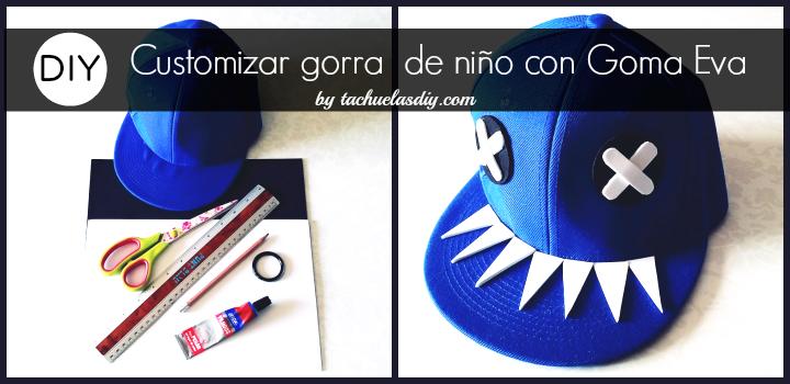 Tutorial diy paso a paso para customizar o decorar una gorra lisa de niño con goma eva en forma de tiburón ,idea diy para personalizar todo tipo de complementos.