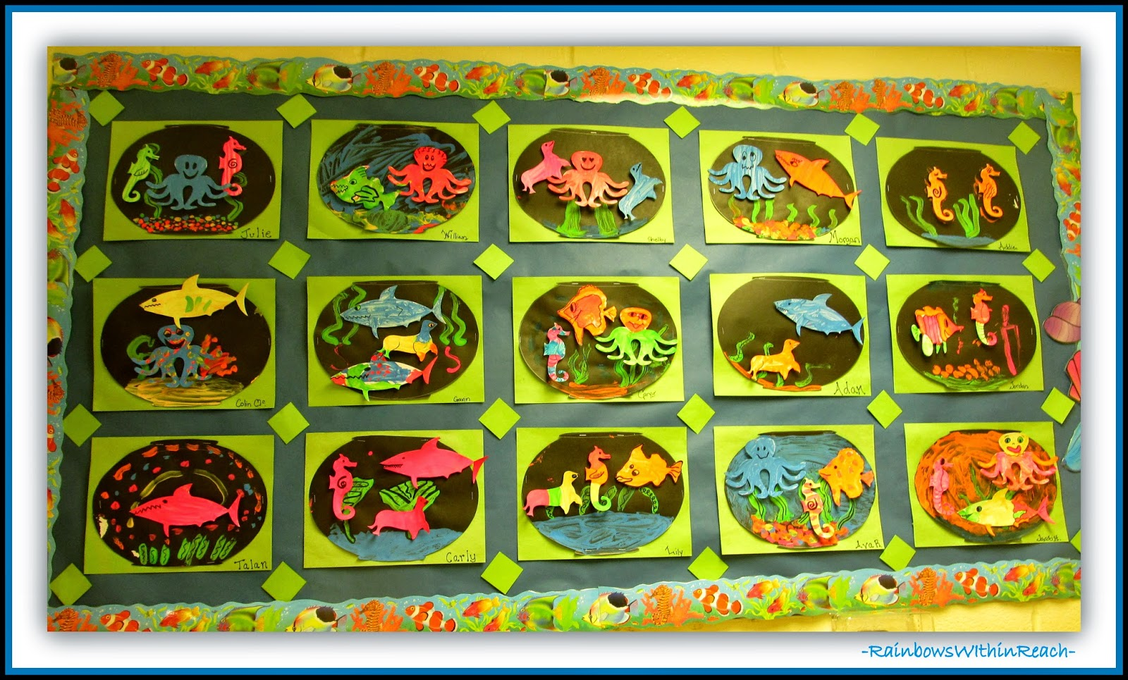 Ocean Themed Bulletin Board {Ocean RoundUP at RainbowsWithinReach}