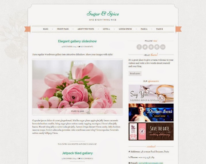 Sugar and Spice Free Responsive WordPress Theme