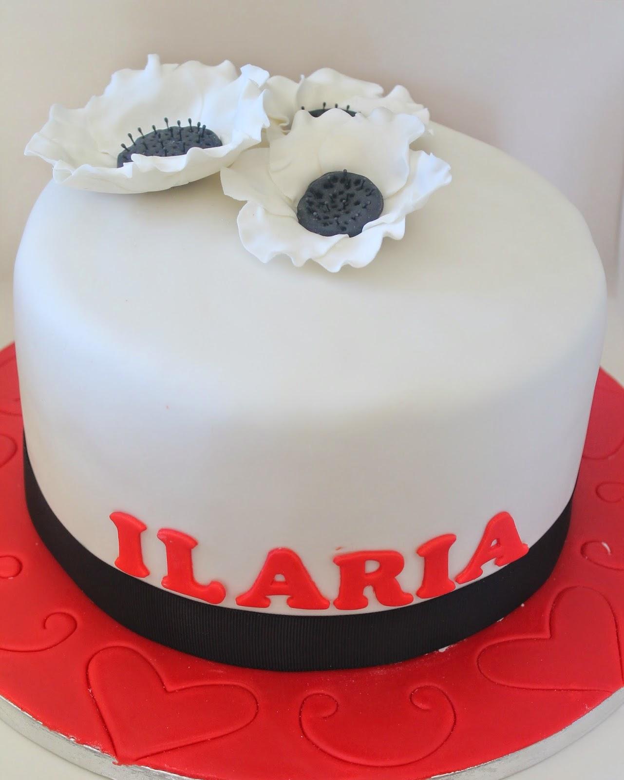 black & white anemone cake