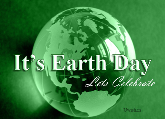 Earth day e greeting cards and wishes with green globe