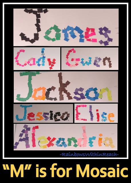 Names as Mosaics in Kindergarten via RainbowsWithinReach
