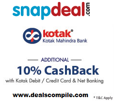 Snapdeal Kotak Mahindra Bank 10% Cashback Offer
