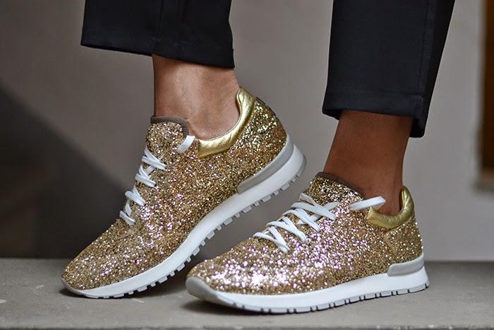 sneakers glitter oro