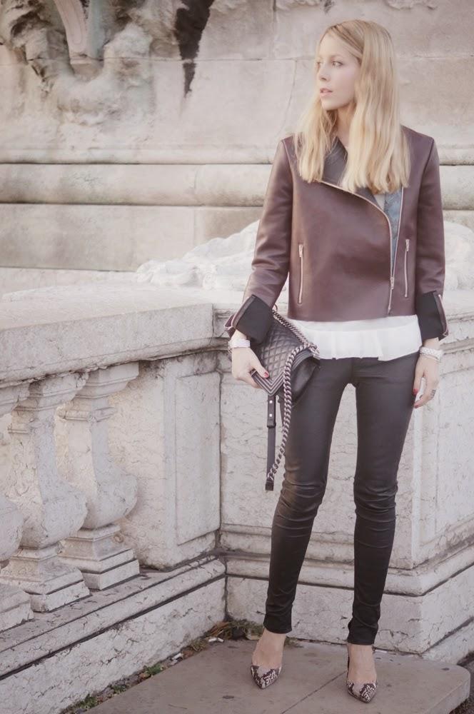 céline, leather jacket, blk dnm, streetstyle, eiffel tower, chanel, zara, paris, fashion blogger, outfit, look du jour