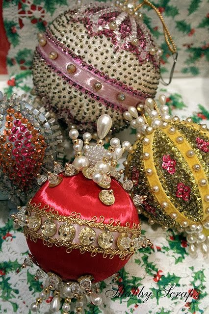 Vintage Pushpin beaded Ornaments Photo By Shabby Scraps