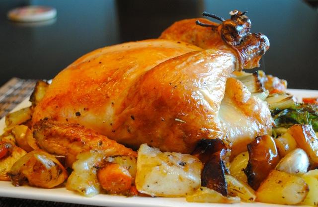как запечь курицу в духовке с макаронами