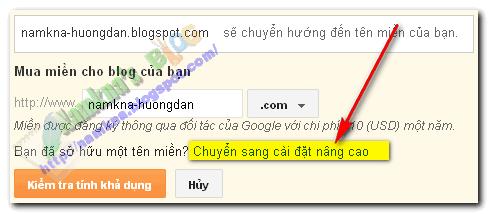 Hướng dẫn cài đặt tên miền cho blogger blogspot