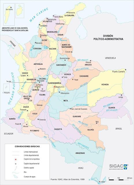 mapa de colombia con sus rios