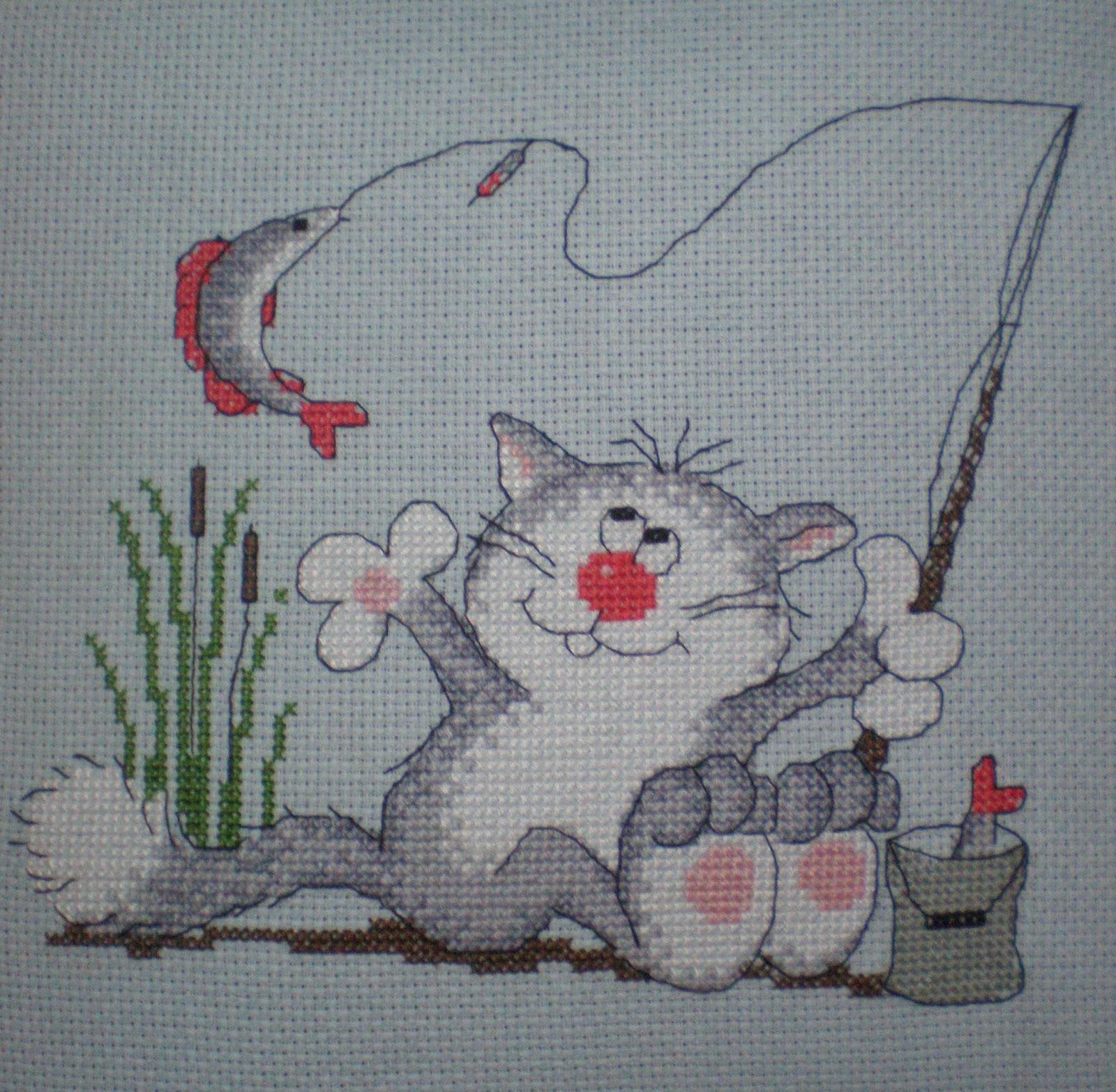 Вышивка мальчик рыбак 59