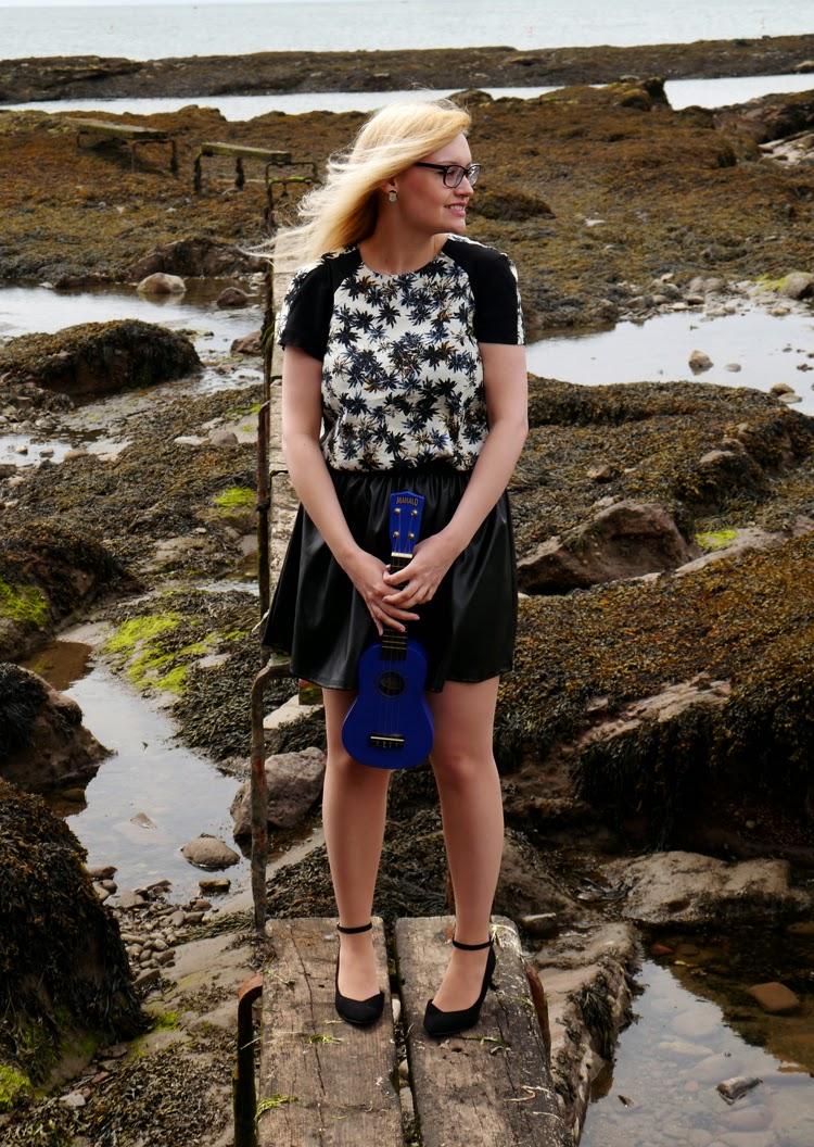 hawaii, Scotland, Arbroath, palm trees, ukelele, beach, fashion shoot, incredible backdrop, photoshoot, wasteland, Annie's Fingers,
