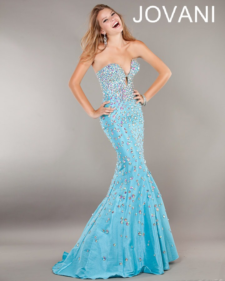Jovani Prom Dresses 2013 long blue mermaid sequins crystal