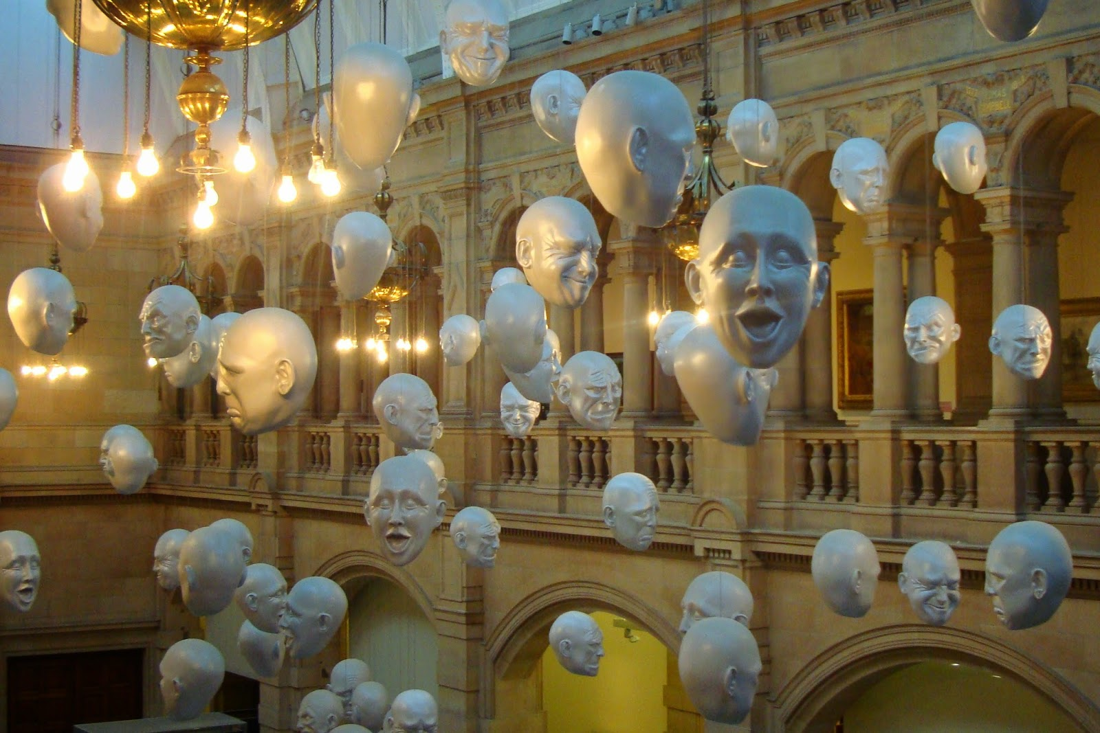 hanging heads, kelvingrove art gallery