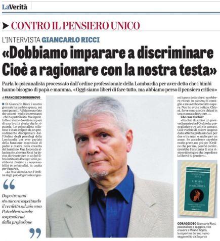 Intervista a G. Ricci su LA VERITA' del 26.1.19