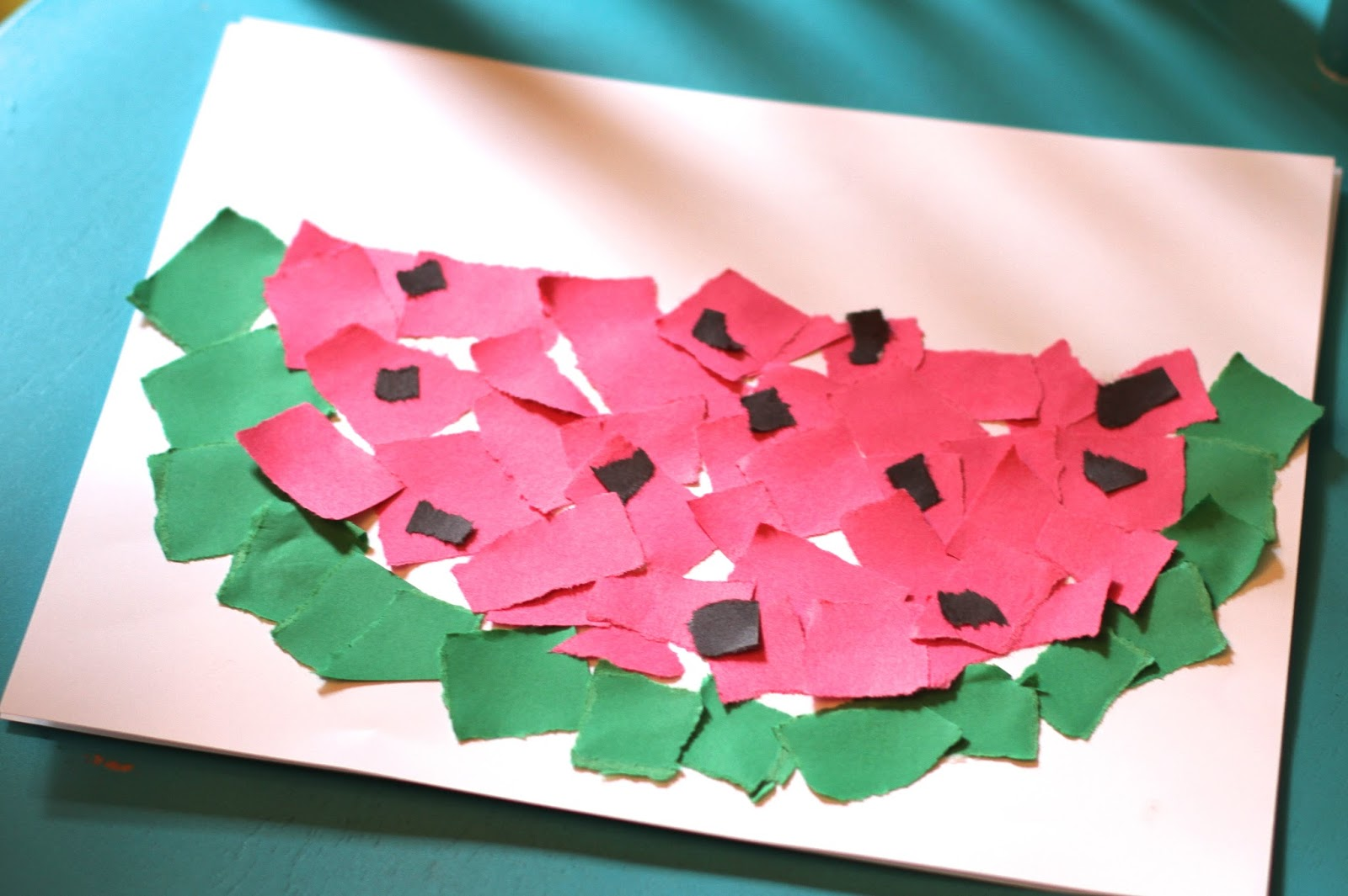Simple Summer Craft Ripped Paper Watermelon