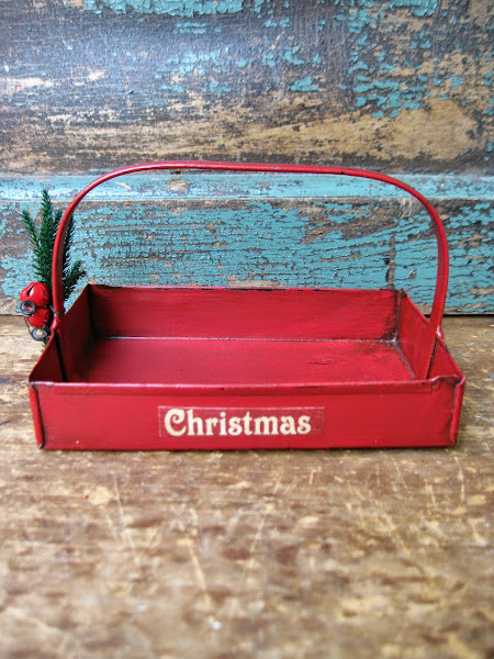 Tin Christmas Basket $15