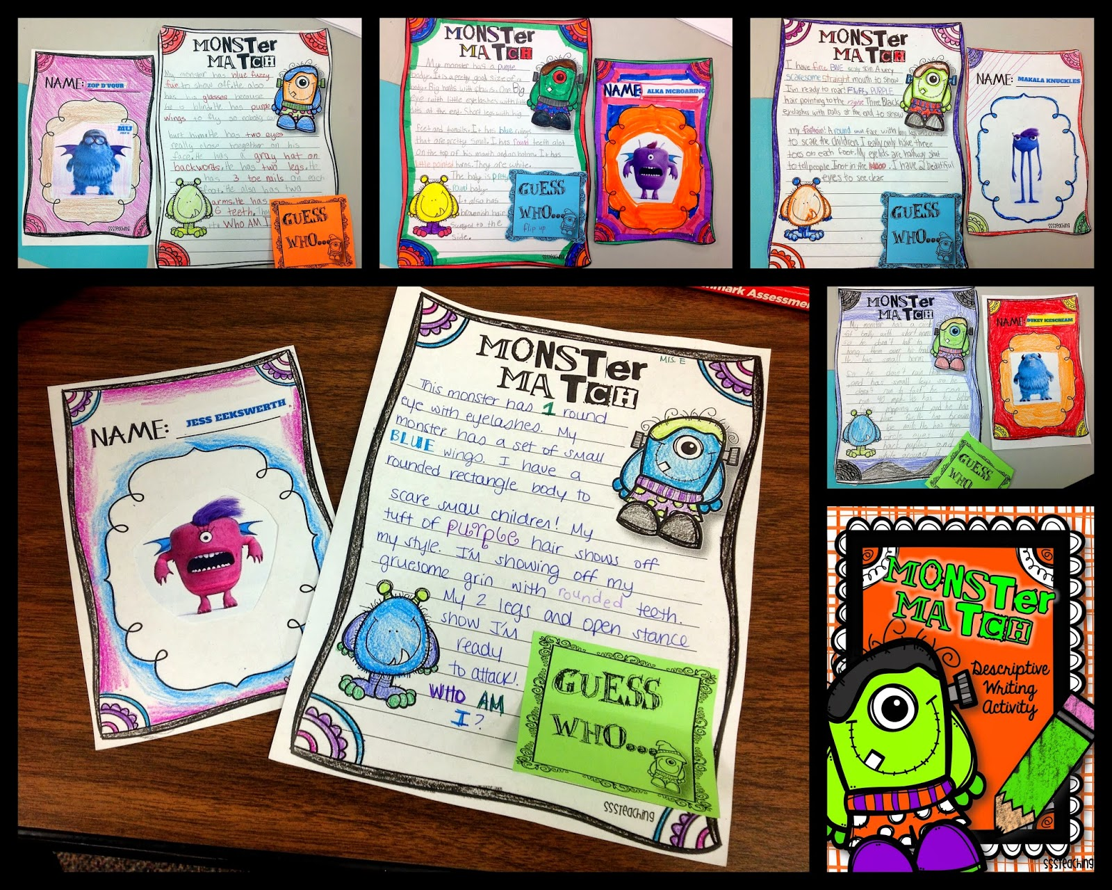 descriptive writing monster match sssteaching i love how they turned out so creative and the writing shows how much we have grown in the past few weeks learning how details can add so much to our