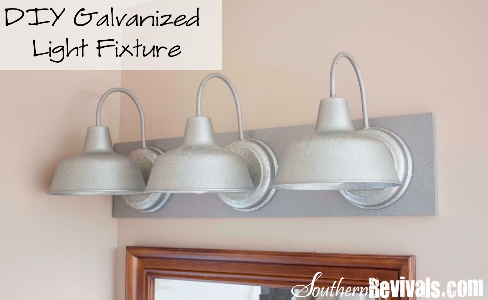 Bathroom Vanity Lights Diy : DIY Triple Galvanized Gooseneck Vanity Light Fixture for under USD 100 - Southern Revivals
