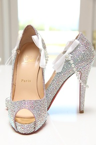 White Satin Faux Pearl Shoes